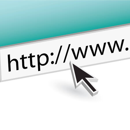 A mouse arrow pointing the the URL in the web browser address bar. Ilustrace