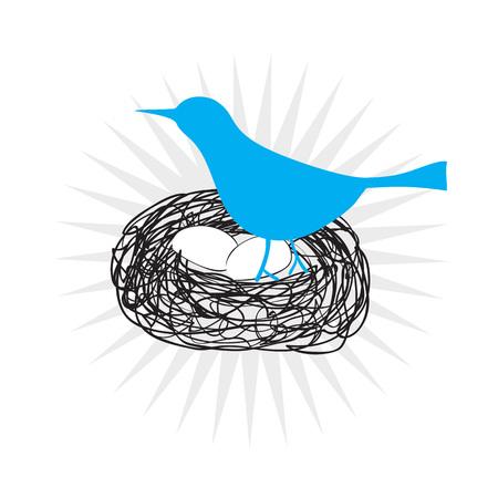 pajaro azul: Icono de p�jaro azul sentado en un nido en sus huevos en formato vectorial. Vectores