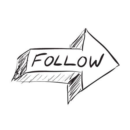 microblogging: Follow arrow icon sketched in black in vector format.