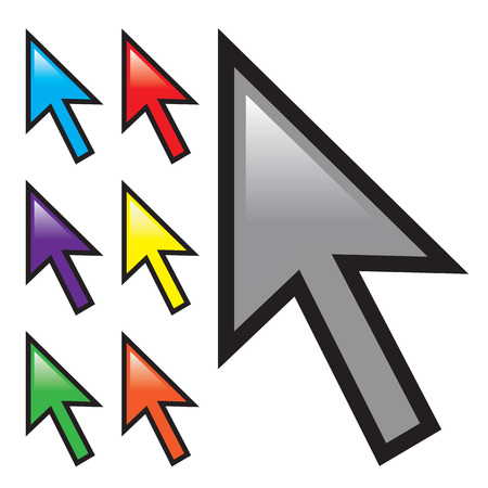 A collection of mouse arrow cursors isolated over white with multiple color options.