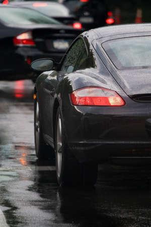 A closeup of the rear tail light on a modern sports car.
