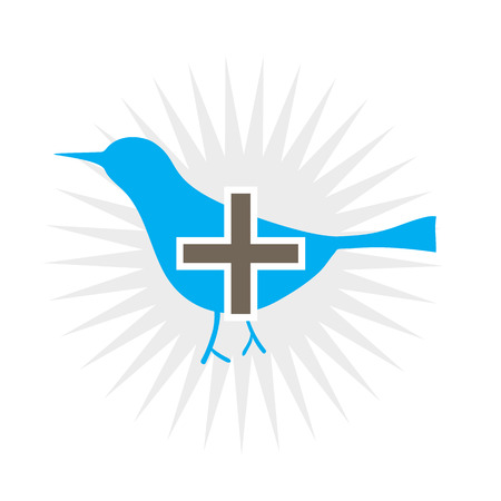 Sociale blauwe vogel symbool met een plus teken toevoegen  Stock Illustratie