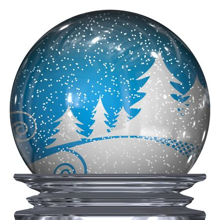 christmas snow: 3d Illustration of a realistic snow globe with a winter scene inside. Stock Photo