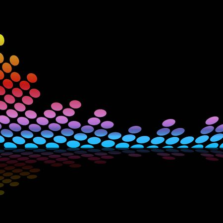 Abstract audio wave form illustration isolated over a black background. illustration
