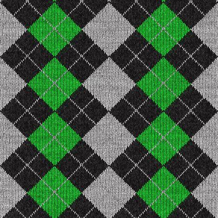 タイルをシームレスに、緑と黒の格子縞アーガイル柄。
