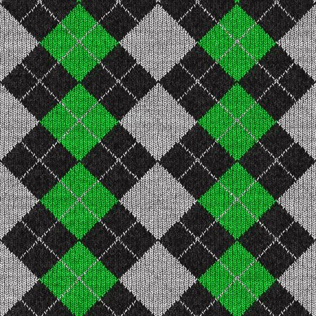 black sweater: A green and black plaid argyle pattern that tiles seamlessly.
