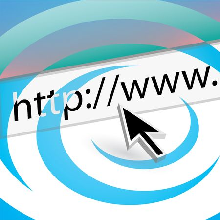 A mouse arrow pointing the the URL in the web browser address bar. Stock Photo