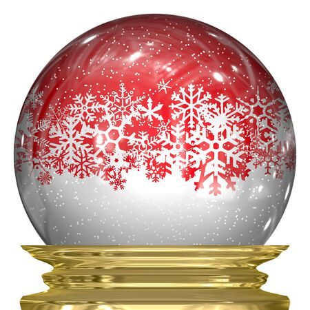 3d snow globe with snow flakes floating around inside. photo