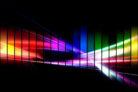 An abstract audio waveform illustrations in a rainbow color scheme isolated over black. illustration