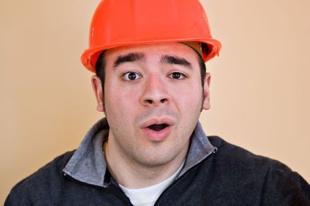This construction worker is looking very confused. photo