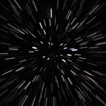 zooming: Illustration of a star field with high speed effects to show movement.