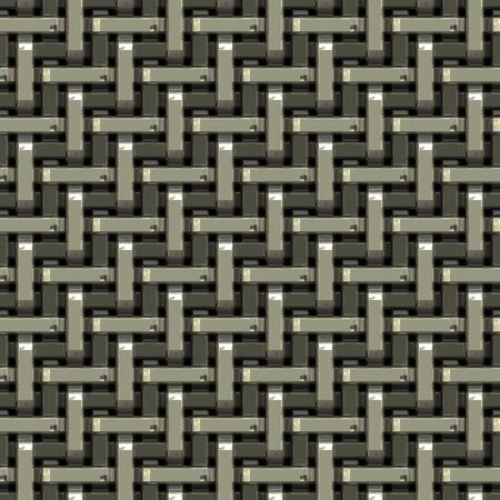 machined: A seamless pattern of a silver metal grate or mesh material.