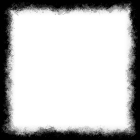 Black and white square border or frame with grungy edges. Stock Photo