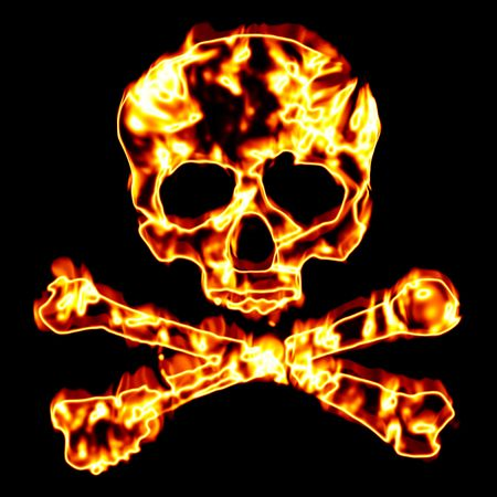 A flaming skull and crossbones illustration isolated over black.