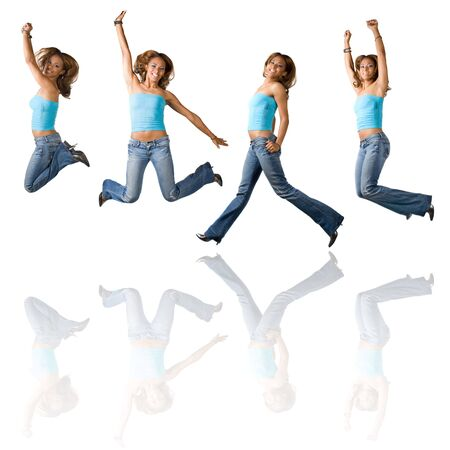 early twenties: A young Hispanic girl in her early twenties jumping in the air in four different poses with reflections over white.