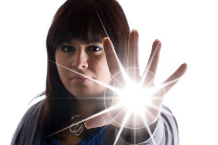 krachtige vrouw: Een vrouw met speciale bevoegdheden een burst licht of energie van een soort uit de palm haar hand te schieten.