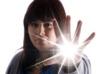 A woman with special powers shooting a burst of light or energy of some sort from the palm of her hand.