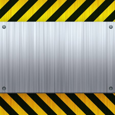 warning attention sign: A riveted 3d brushed metal plate on a construction hazard stripes background.