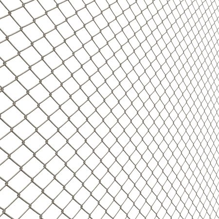 penal: A 3D chain link fence texture isolated over white.  This tiles seamlessly as a pattern in any direction.