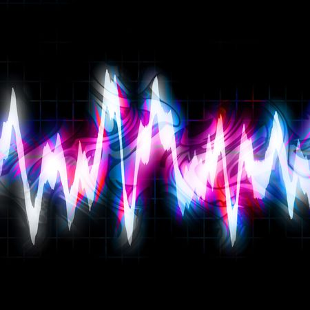 vibrations: Abstract neon graphic equalizer bouncing and glowing brightly isolated over black.