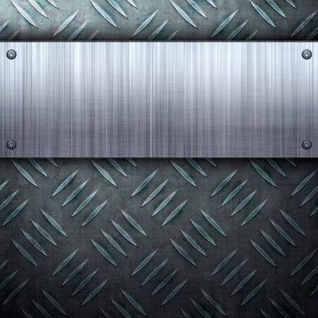 polished: Desgastado metal textura de placa de diamante con una placa de aluminio cepillado clavada a ella.  Hace una gran plantilla de dise�o o de la tarjeta de presentaci�n.