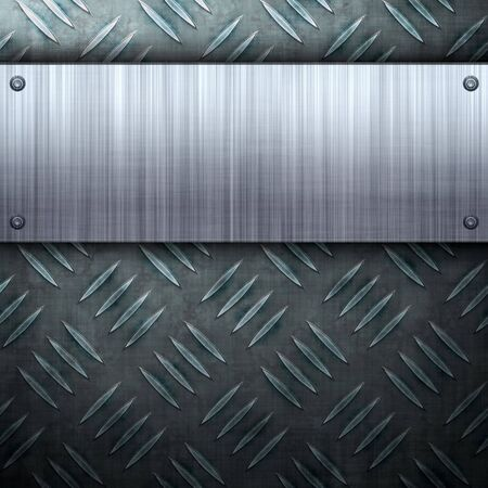 Worn diamond plate metal texture with a brushed aluminum plate riveted to it.  Makes a great layout or business card template. Stock Photo - 6220781