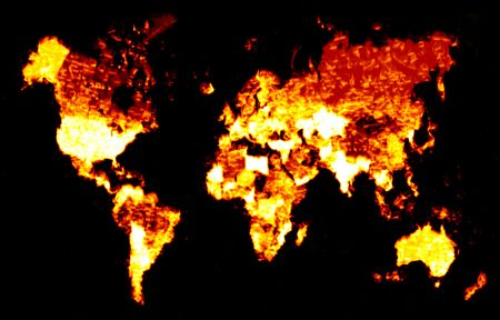 burning: A world map of continents engulfed in flames.  This works great for global warming concepts. Stock Photo