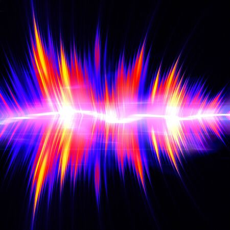 vibrations: Funky neon glowing audio waveform or graphic equalizer with electric plasma.
