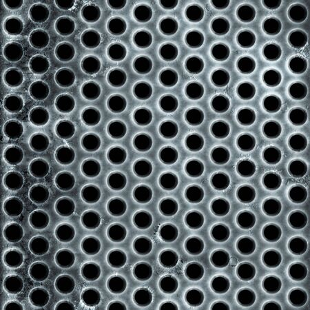 aluminum: A metal air vent or wire mesh grill plate material with a grungy worn finish. Stock Photo