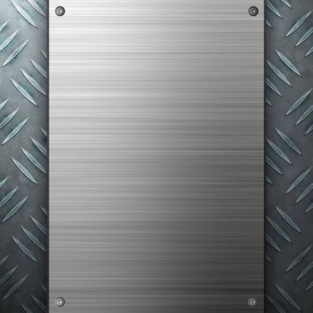 Worn diamond plate metal texture with a brushed aluminum plate riveted to it.  Makes a great layout or business card template. Stock Photo - 6258513