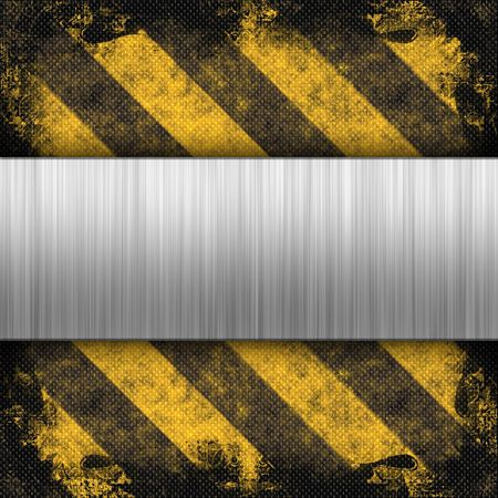 3d brushed metal layout on a grungy hazard stripes background.  This makes a great industrial layout.  The stripes have a carbon fiber look. photo