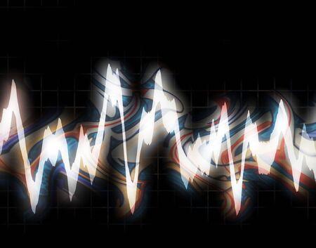 vibrations: Graphic audio equalizer or waveform illustration isolated over black.