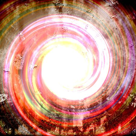 An abstract grungy vortex or tunnel with a bright light coming from the center.
