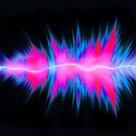 Graphic audio equalizer or waveform illustration with glowing plasma electricity flowing through the center.