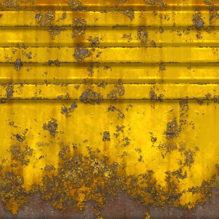 Seamless illustration of a worn and rusty metal panel painted yellow.