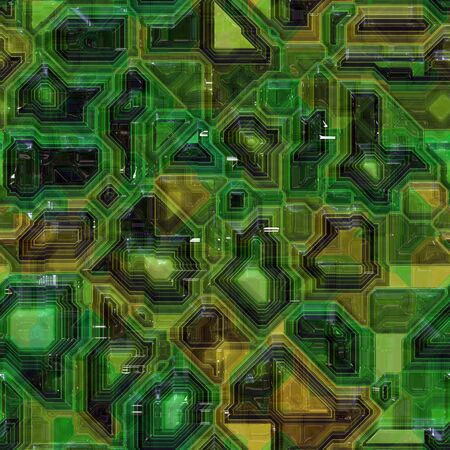 Seamless computer circuity pattern in a green tone.