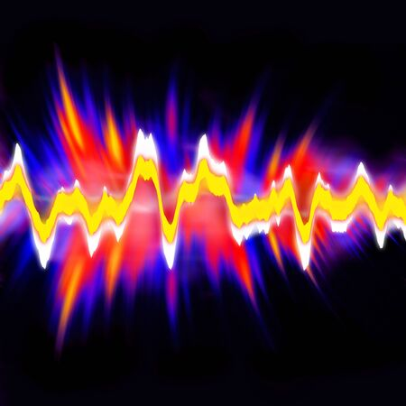 Funky neon glowing audio waveform or graphic equalizer with electric plasma.