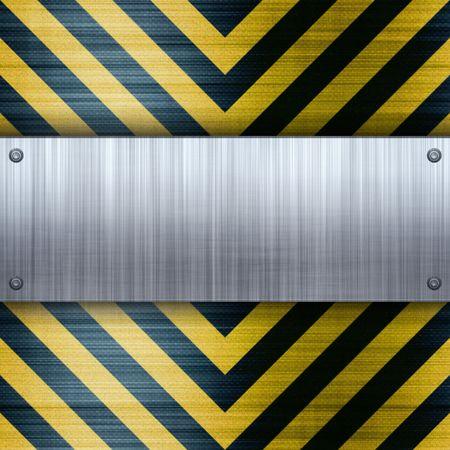 carbon fiber: Una placa de aluminio cepillado clavados en un peligro de construcción rayas fondo con incrustación de fibra de carbono.