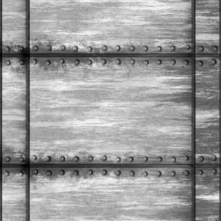 Seamless worn metal texture with rivets that tiles as a pattern in any direction. photo
