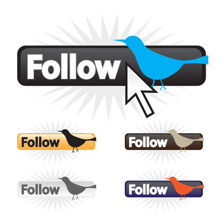Social bird follow icons in a fully editable vector format.