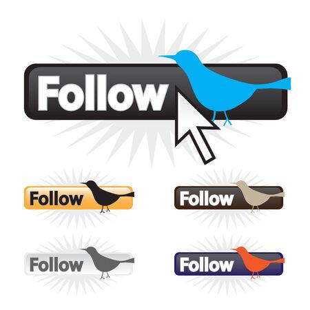 microblogging: Social bird follow icons in a fully editable vector format.