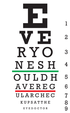impairment: An eye chart with a hidden message that reads EVERYONE SHOULD HAVE REGULAR CHECKUPS AT THE EYE DOCTOR.
