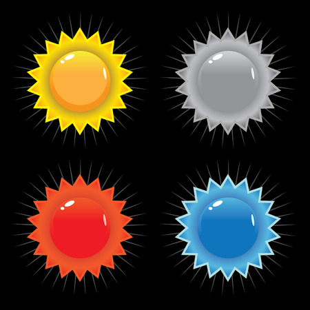 A set of vector seals or icons including primary colors red blue and yellow. Vector