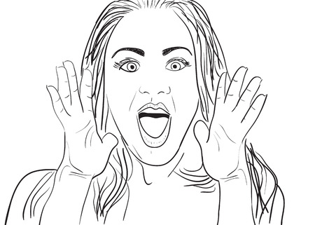 A cartoon vector drawing of a surprised or amazed woman. Çizim