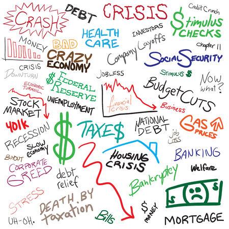 Recessie economie en Financiën gerelateerde doodles op wit wordt geïsoleerd.  Vector Illustratie