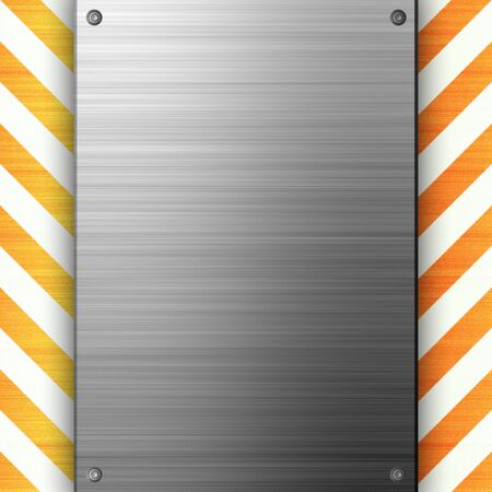 A riveted 3d brushed metal plate on a construction hazard stripes background.