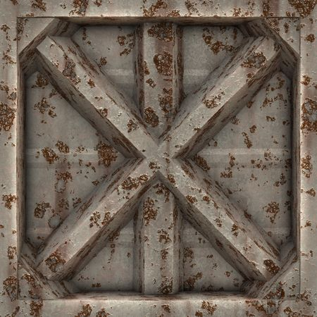 A rusted and worn 3D metal plate in an X shape. This tiles seamlessly as a pattern.