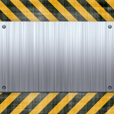 steel industry: A riveted 3d brushed metal plate on a construction hazard stripes background.