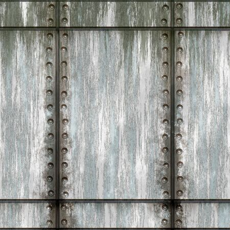Seamless worn green metal texture with rivets that tiles as a pattern in any direction. Foto de archivo