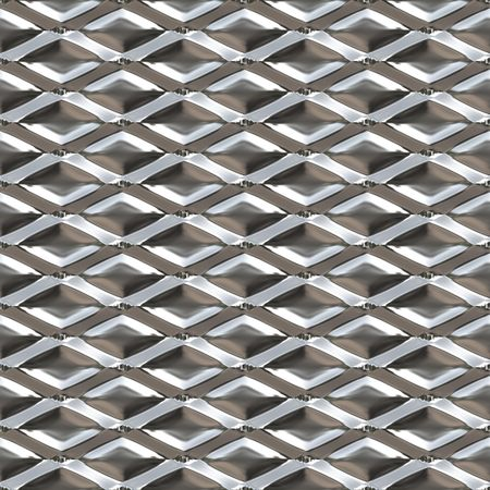 Diamond shaped metal texture that you might see on a hot dog cart or in a restaurant. This tiles seamlessly as a pattern for an industrial background.. photo